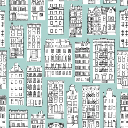 Seamless pattern with hand drawn houses, blue background Stock Illustratie