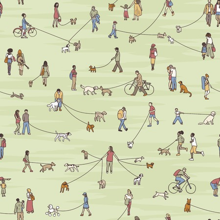 Seamless pattern with tiny people walking their dogs