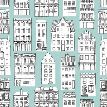 手描きのシームレスなパターンの家、青の背景