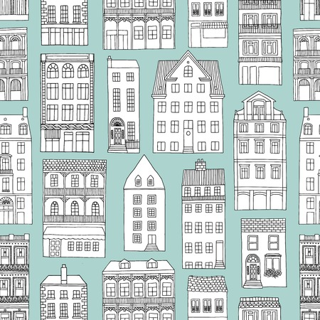 Seamless pattern with hand drawn houses, blue background 向量圖像