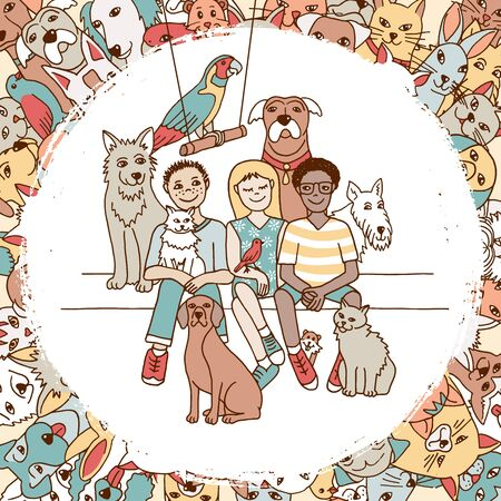 Tekening van drie schattige kinderen met hun huisdieren Stock Illustratie