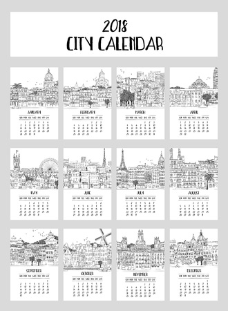 Calendar for 2018 with a collection of big cities, hand drawn ink illustrations