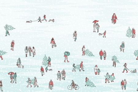 Hand drawn banner of tiny people wearing warm winter coats and carrying Christmas trees, with gradient background - can be tiled horizontally