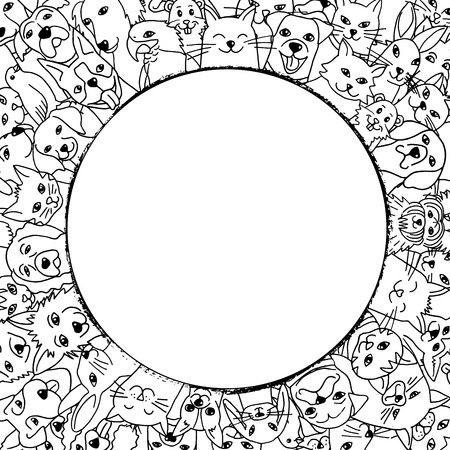 A variety of hand drawn pets in a circle around empty space for text