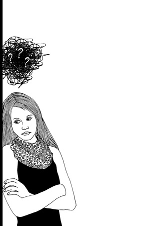 Sad woman leaning against a wall, black and white illustration with space for text