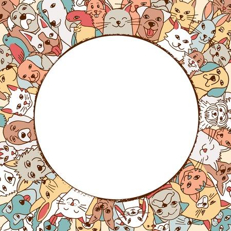 Een verscheidenheid van hand getrokken huisdieren in een cirkel rond lege ruimte voor tekst Stock Illustratie