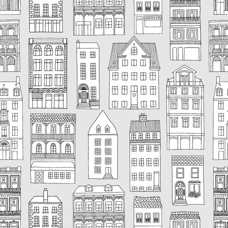 Seamless pattern with little hand drawn houses, black and white Illustration