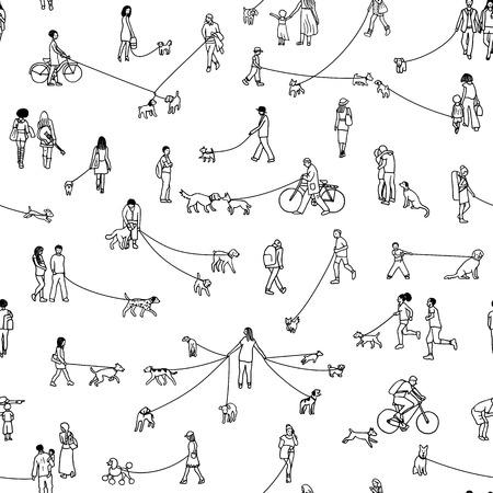 Padrão sem emenda com pequenas pessoas passeando com seus cães, ilustração a tinta de contorno preto e branco