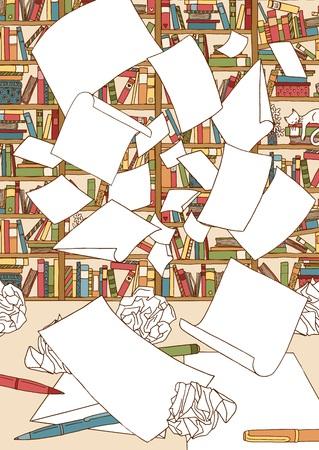 オフィスの本棚の前で空を飛ぶ空の紙の束のイラスト