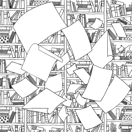 Illustration of empty papers, flying through the air in the front of an office bookshelf. Black and white illustration suitable as coloring book page Illustration