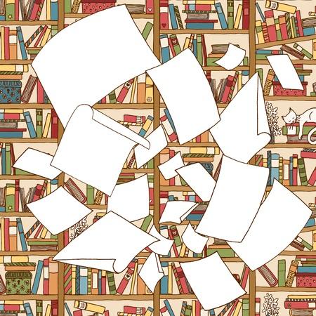 사무실 책장 앞에서 공기를 통해 비행하는 빈 논문의 무리의 그림