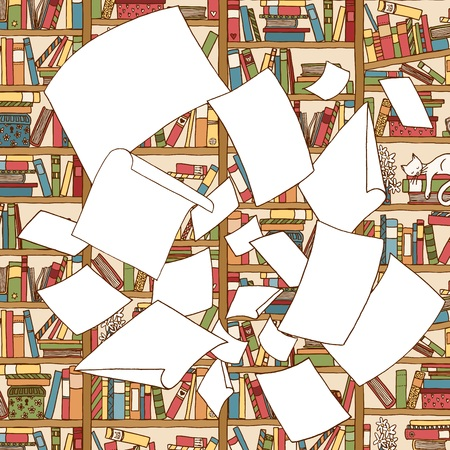 Illustration of a bunch of empty papers, flying through the air in the front of an office bookshelf