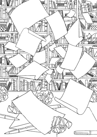 Illustration of empty papers flying through the air in front of a bookshelf and desk with crumpled paper. Black and white illustration suitable as coloring book page Illustration