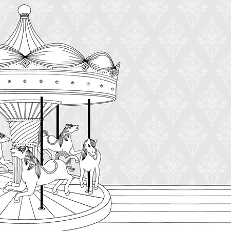 Hand drawn black and white illustration of a carousel with horses, coloring book page