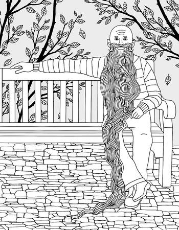 Hand getekend illustratie van man zittend op een bankje in het park