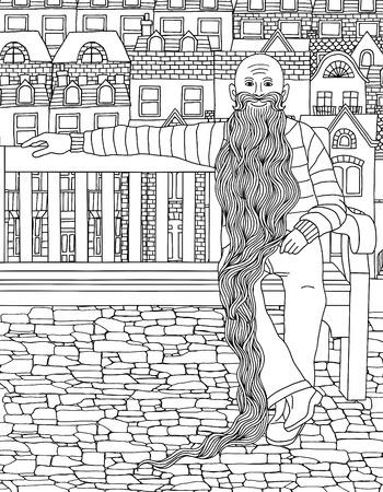 Hand getrokken illustratie van een oude man met een zeer lange baard, zittend op een bankje in de stad Stock Illustratie