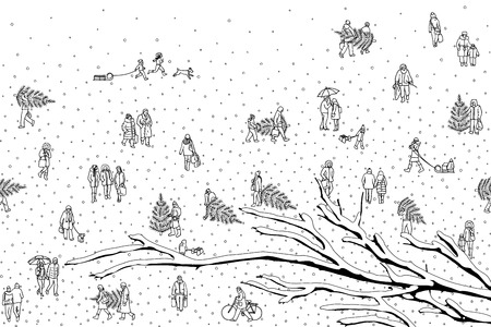 Hand drawn illustration of tiny pedestrians walking in the winter through the city: Portrait of a happy young couple walking in the park. Snow covered branch in the foreground Illustration