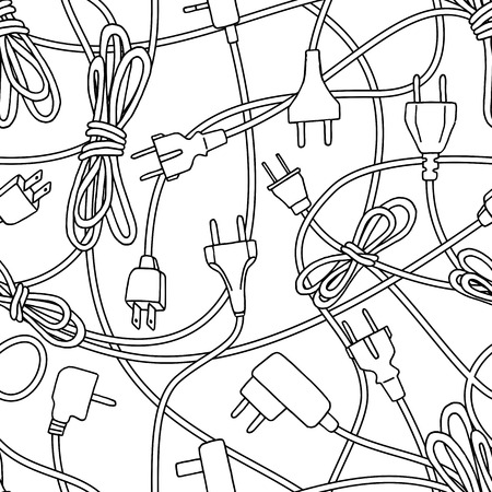 Seamless pattern of various cables, plugs, chargers and adapters, for electricity, internet and computers