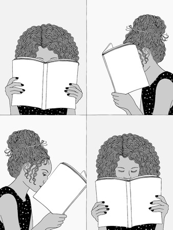Hand drawn illustrations of two girls reading, hiding their faces behind their books