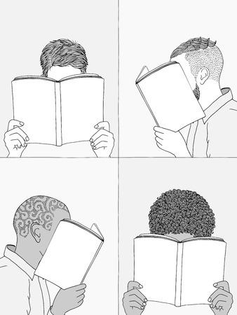 Handgetekende illustraties van mensen die boeken lezen, hun gezichten verbergen achter boeken - lege boeken om uw eigen tekst toe te voegen