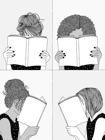 Hand drawn illustrations of four girls reading, hiding their faces behind their books
