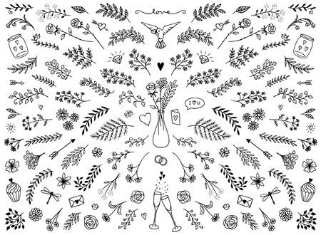 Bergeben Sie skizzierte Blumenmusterelemente für Valentinstag oder Hochzeiten, Blumen und Blätter für Textdekoration Standard-Bild - 93234576