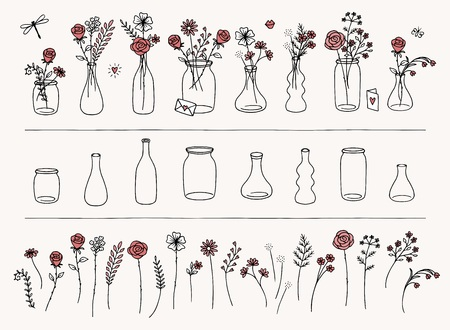 Set of hand drawn flowers and vases for valentines day