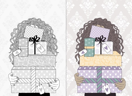 Hand drawn illustration of a young woman with curly hair, holding a variety of boxes with presents and gift tags - in black and white and in color 일러스트