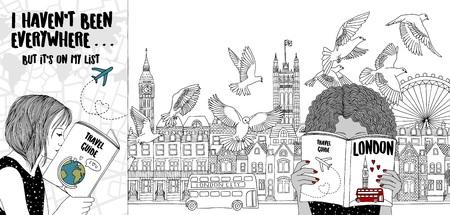 観光ガイドを読む2人の女の子の手描きのイラスト、背景にロンドンのスカイライン