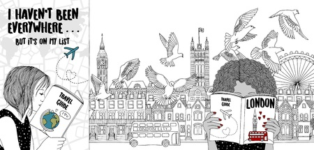 Hand drawn illustration of two girls reading tourist guides, with the London skyline in the background Illustration