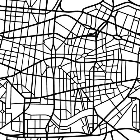 Abstract naadloos patroon van een fictieve stadskaart Stock Illustratie