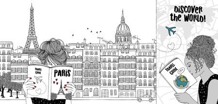 Entregue a ilustração desenhada de duas meninas que leem guias turísticos, com a skyline de Paris no fundo Foto de archivo - 93877000
