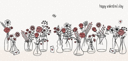 A collection of hand drawn flower bouquets for Valentines day or other occasions Illustration