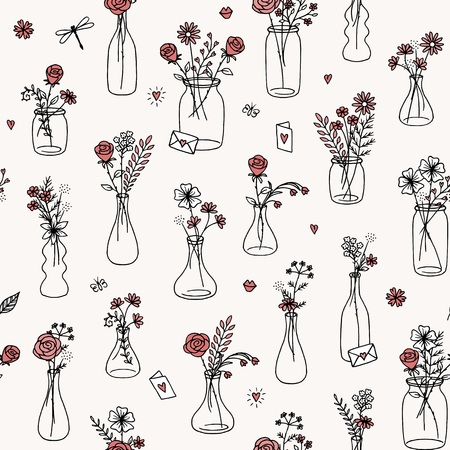 Seamless flower bouquet pattern for Valentines Day, weddings, and other occasions