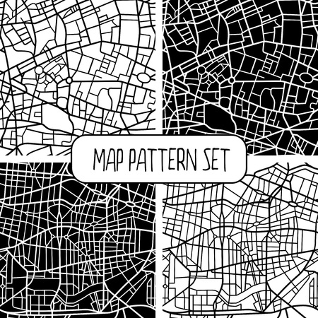 Set of four abstract seamless patterns of fictional city map