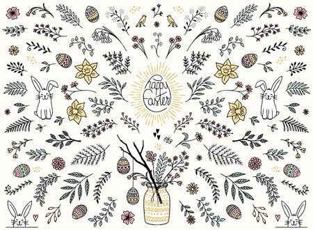 Hand sketched floral design elements for Easter, flowers, leaves, Easter eggs and bunny for text decoration Illustration