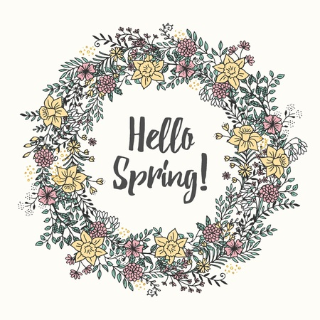 Spring Lettering with wreath hand drawn vector illustration Ilustracja