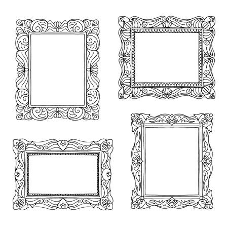 詳細なパターンを持つ4つの手描きの絵のフレーム  イラスト・ベクター素材
