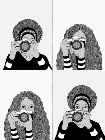 Hand drawn illustrations of two young women taking photos, hiding their faces behind their camera