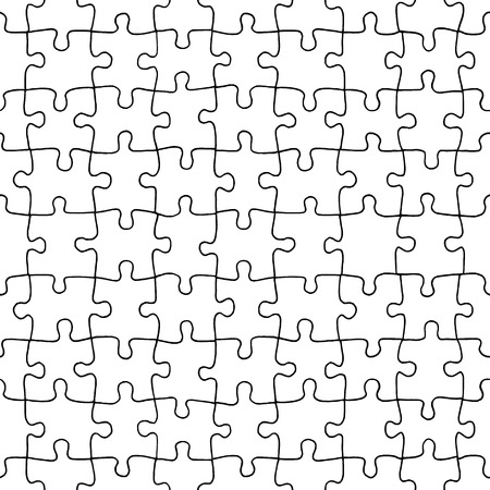 Seamless pattern of hand drawn jigsaw puzzle pieces Stock Illustratie