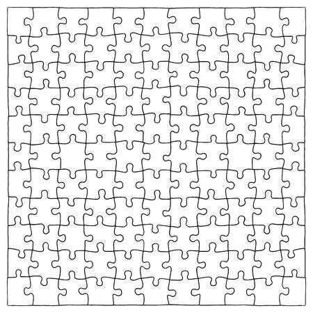 Dibujado a mano piezas de rompecabezas. Foto de archivo - 95199943