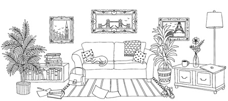 Hand drawn illustration of a living room, interior design with couch, plants and cup