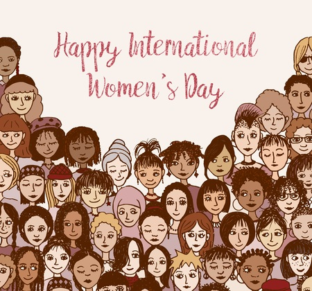 Happy International Womens Day Hand drawn doodle with faces of various women and girls