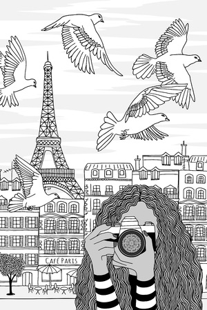 Hand drawn black and white illustration of a young woman taking photos in Paris