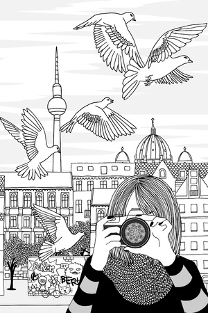 Black and white illustration of a young woman taking photos in Berlin, Germany Standard-Bild - 98173565