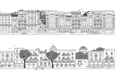 Two hand drawn seamless city banners. turkish and greek houses.