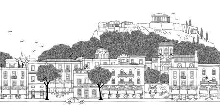 Atenas, Grecia: la pancarta perfecta del horizonte de la ciudad, la ilustración en blanco y negro dibujada a mano se puede colocar en mosaico horizontal. Ilustración de vector