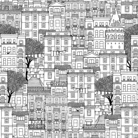 ガラタの塔と木々とイスタンブール、トルコの家のシームレスなパターンを描いた手  イラスト・ベクター素材