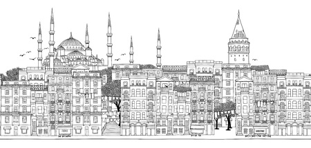 Seamless banner of the city's skyline, hand drawn black and white illustration