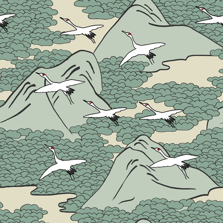 Japanese art inspired seamless pattern of gliding cranes over mountains.